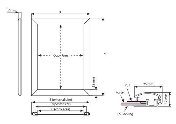 25mm Aluminyum Çerçeve Teknik Grafik