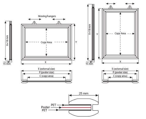 Çift Taraflı Sürgü Çerçeve Teknik Grafik